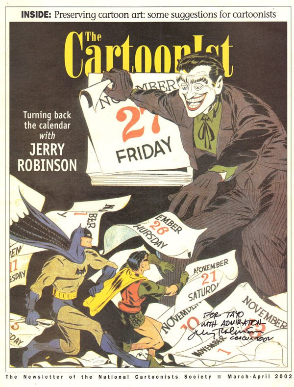 Cover of THE CARTOONIST newsletter Jerry Robinson autographed for me in Cancun Mexico My Tribute to Jerry Robinson cartoons