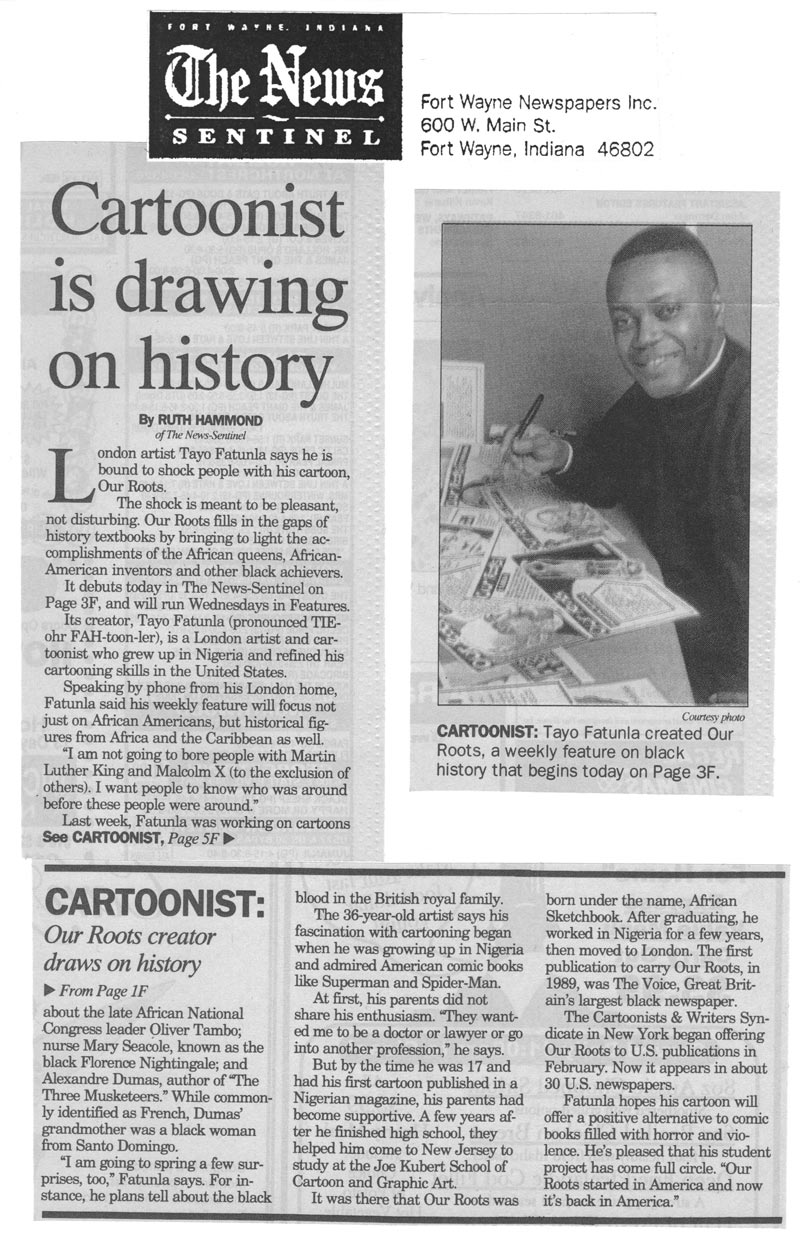 This is how I was promoted in Flordas The News Sentinel by Jerry Robinson to promoting OUR ROOTS1 My Tribute to Jerry Robinson cartoons