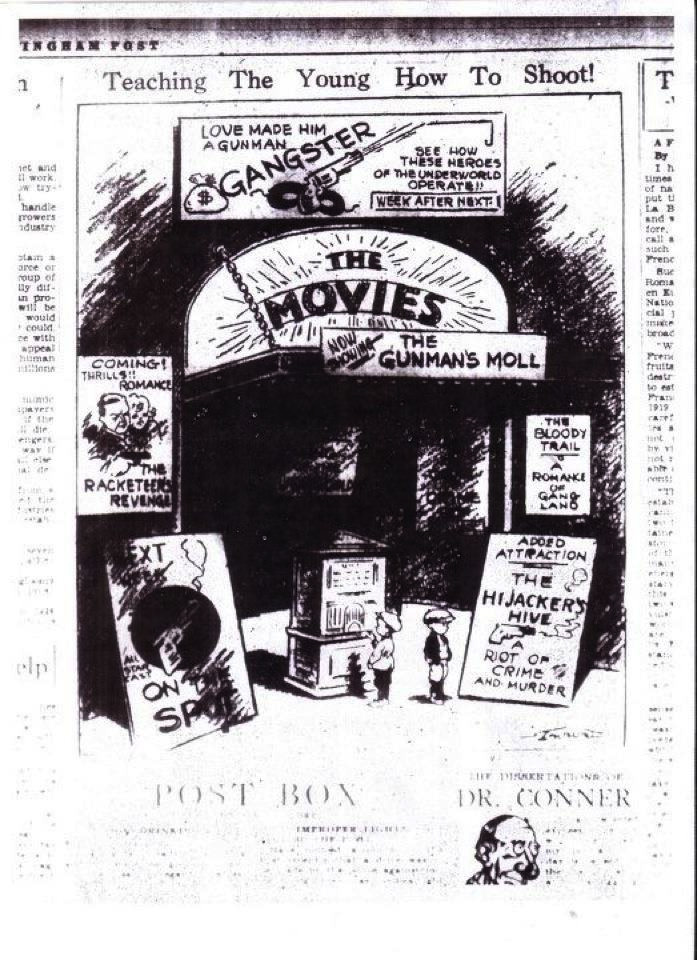 old theater 1931 Cartoon Links Movies and Gun Violence cartoons