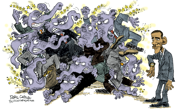 BattlingGOP 600wideCOLOR Cliffs, Fighting Elephants and Picasso cartoons