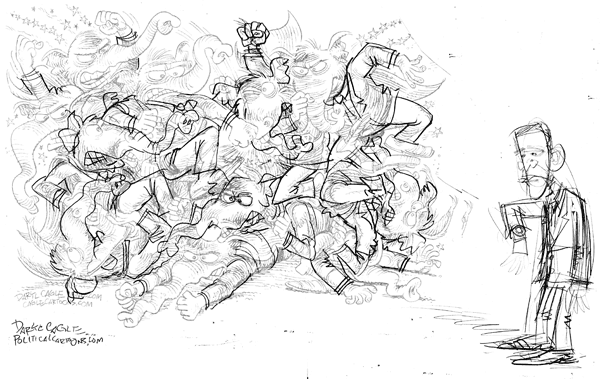 Sketch600wide Cliffs, Fighting Elephants and Picasso cartoons